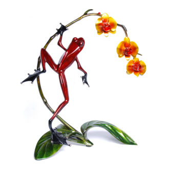 Orchid (Solid Bronze Frog Sculpture) by Tim Cotterill Frogman Torquay Devon