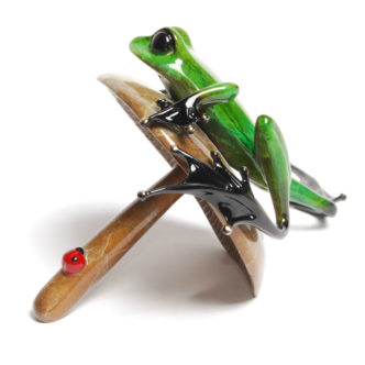 Portobello (Solid Bronze Frog Sculpture) by Tim Cotterill Frogman Torquay Devon