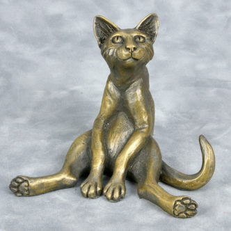 Cat Sat Bronze Resin Sculpture