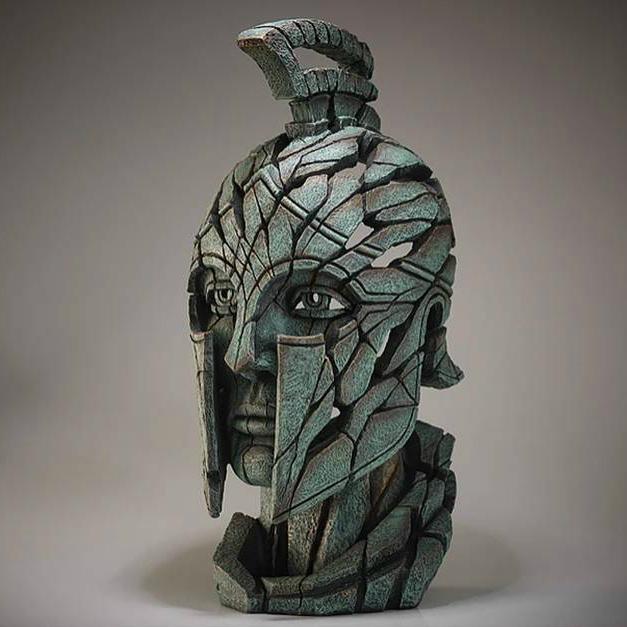 Spartan Bust Verdi Gris Sculpture by Matt Buckley, Edge, Robert Harrop Designs.