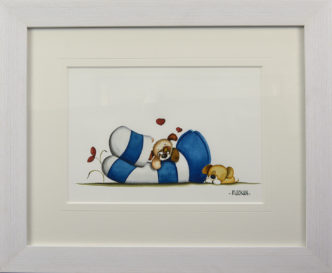Puppy Love Huddies Original Painting by Mike Jackson