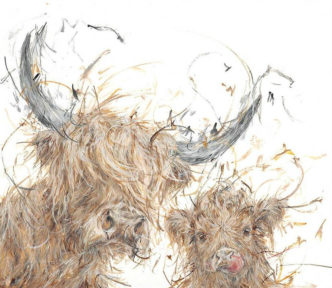 Big Coo, Little Coo by Aaminah Snowdon Highland Cow Art