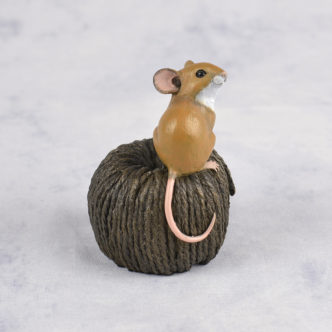 Mouse on Ball of Twine Bronze Resin Sculpture by Mike Simpson