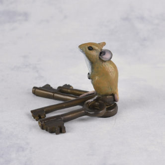 Mouse on Keys Bronze Resin Sculpture by Mike Simpson