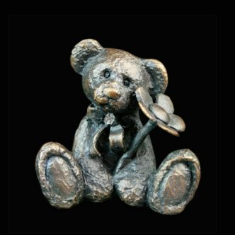 Daisy Teddy Bear Solid Bronze Sculpture by Mike Simpson