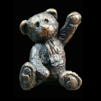 Bertie Teddy Bear Solid Bronze Sculpture by Mike Simpson