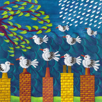 Nicky Steveson British Summer Time open edition print exclusive to haddon galleries. Seagull art