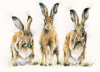 Hare No Evil Hand Embellished Print by Kay Johns