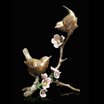 Apple Blossom Wrens Solid Bronze Sculpture by Mike Simpson