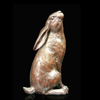Moongazing Hare Solid Bronze Sculpture by Mike Simpson
