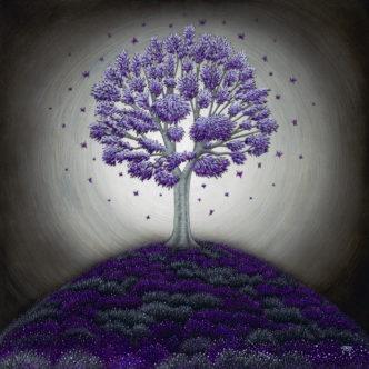 Round in Purples (Hand Embellished) print by Tamsin Evans Torquay Devon