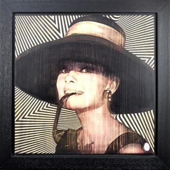 Audrey: Pink (Original) by Rob Bishop Audrey Hepburn Art