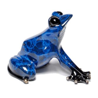 Indigo (Solid Bronze Frog Sculpture) by Tim Cotterill Frogman Torquay Devon