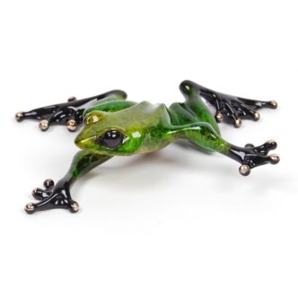 Twister (Solid Bronze Frog Sculpture) by Tim Cotterill Frogman Haddon Galleries Torquay