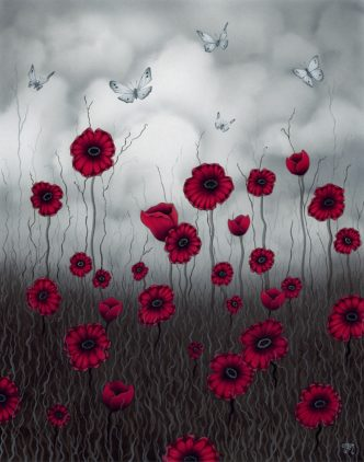 Late Summer Flight Poppy Art print by Tamsin Evans Torquay Devon