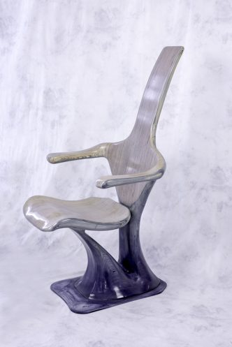 Wave Chair Sculpture (Blue) by Reg Bishop
