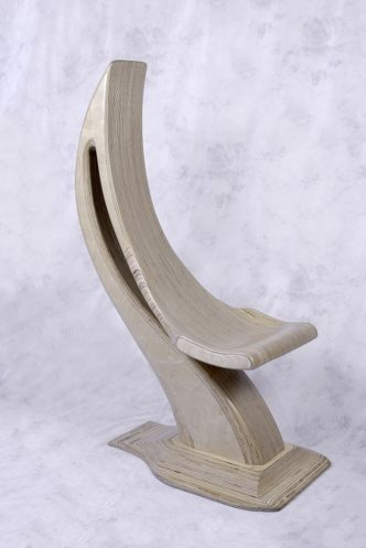 Natural Wood Scoop Chair Sculpture by Reg Bishop