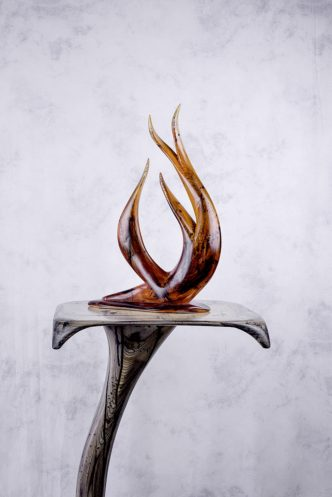 Flame Wood Sculpture (Red) by Reg Bishop