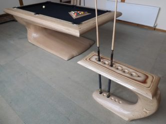 Pool Table Wood Sculpture (Natural) by Reg Bishop
