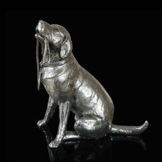 Labrador & Lead Nickel Resin Sculpture by Keith Sherwin Richard Cooper Bronze