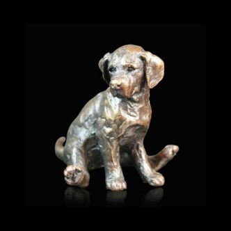 Labrador Puppy Sitting Solid Bronze Sculpture by Michael Simpson Richard Cooper