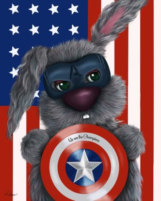 We Are The Champions by Lisa Holmes Bunny art cute