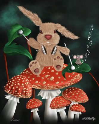 We Will Rock You by Lisa Holmes Bunny art cute