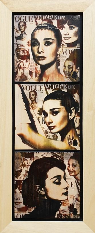 Audrey Cover Girl Triptych (OV) by Rob Bishop Art on Maple Wood Audrey Hepburn Art