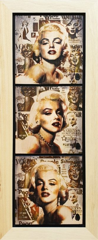 Marilyn Cover Girl Triptych (OV) by Rob Bishop Art on Maple Wood Marilyn Monroe Art