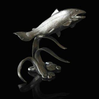 Salmon Nickel Resin Sculpture by Mike Simpson