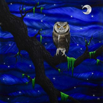 Jeepers Creepers (Original on Metal) by Tamsin Evans Owl Art