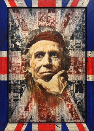 Made In Britain: Keith (Original) by Rob Bishop Art on Maple Wood Keith Rolling Stones