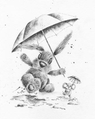Singing in the Rain Print by Lisa Holmes