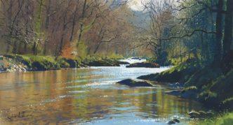 The Weir at New Bridge by Richard Thorn Devon Art