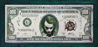 The Joker $100 (Original Variation) by Rob Bishop Art on Maple Wood Batman Joker Art Marvel
