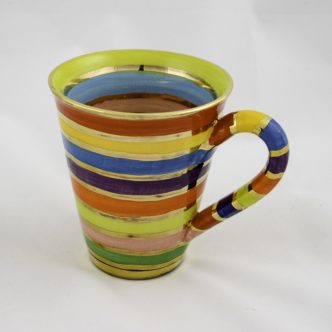 Large Mug (Multi Colour Horizontal Lines) by Mary Rose Young