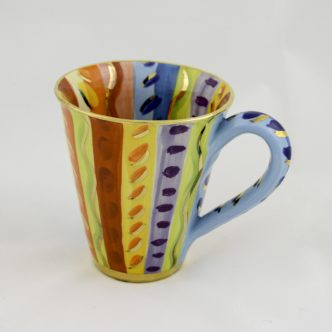 Large Mug (Multi colour Vertical Lines) by Mary Rose Young