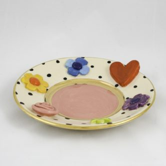 Queen of Hearts Cake Plate (Pink) by Mary Rose Young