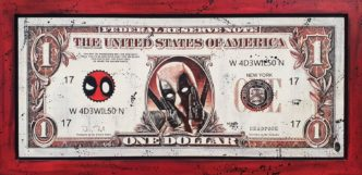 Wade Wilson - Deadpool Dollar (Original Variation) by Rob Bishop Art on Maple Wood Art Marvel