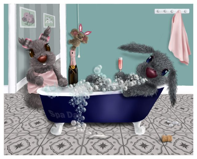 Spa Day by Lisa Holmes Bunny Art Limited Edition