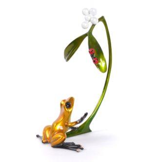 Mistletoe (Solid Bronze Frog Sculpture) by Tim Cotterill Frogman Torquay Devon