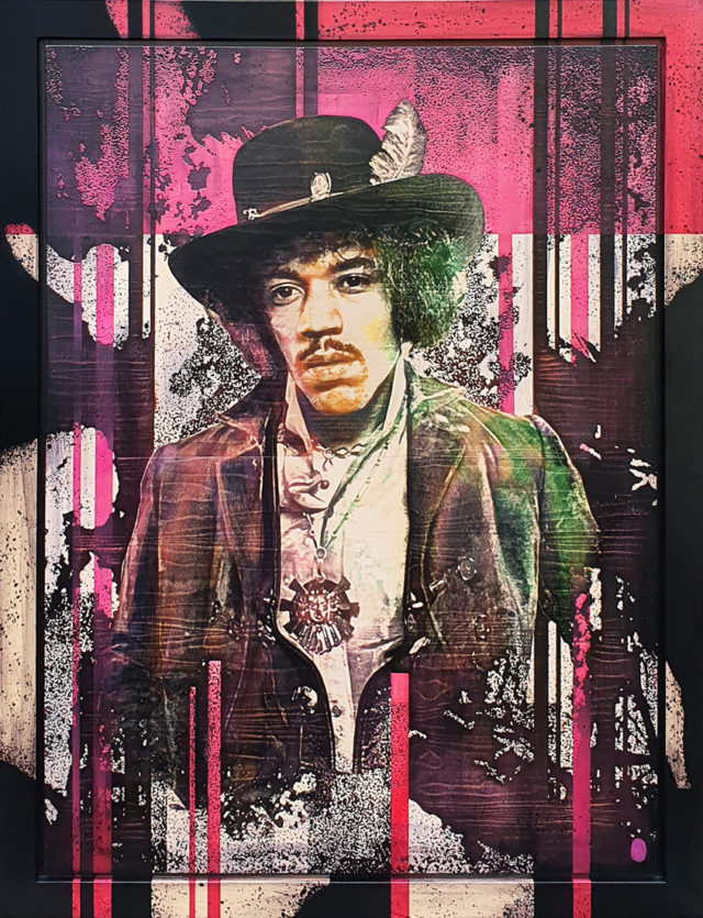 Hendrix (Original) by Rob Bishop Art on Maple Wood