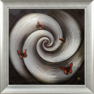 Brandy Butterflies by Tamsin Evans on Metal Panel